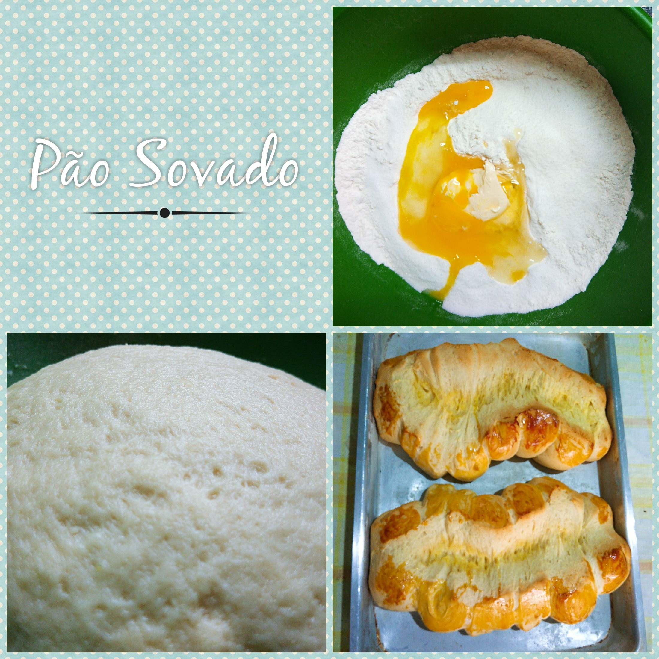 Pão Sovado, Mixing the ingredients, rising the dough and baking the dough.